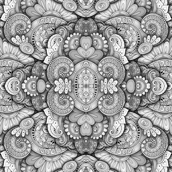 Vetor sem costura abstrato monocromático tribal padrão Foto stock © lissantee