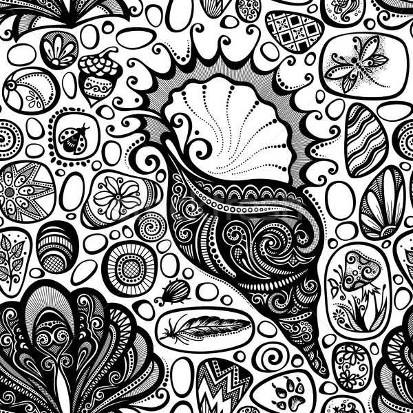 Monochrome Seamless Pattern with Sea Pebbles and Sea Shells Stock photo © lissantee