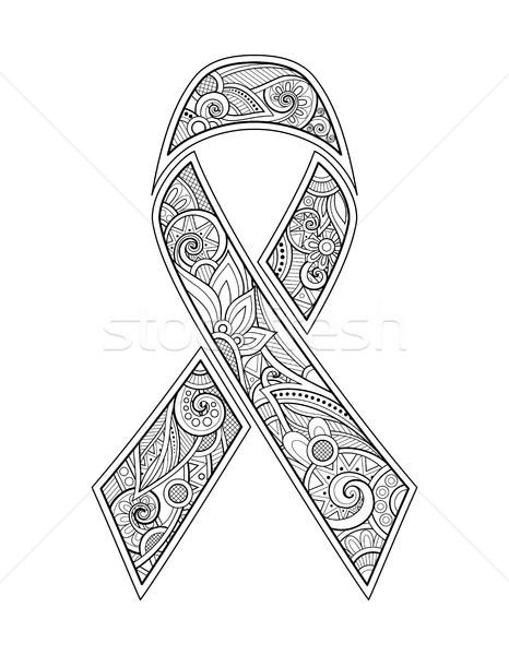 Breast Cancer Awareness Month Emblem, Pink Ribbon Symbol Stock photo © lissantee