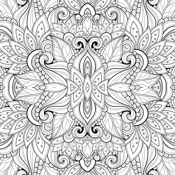 Vektor abstrakten schwarz weiß tribal Muster Stock foto © lissantee