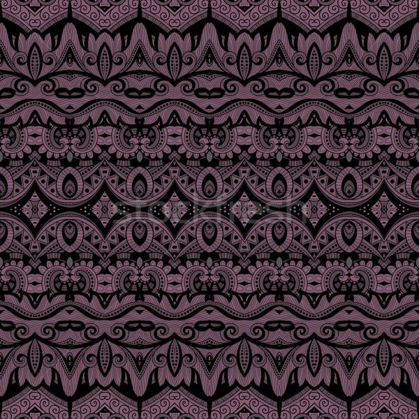 Vektor végtelenített díszes minta kézzel rajzolt damaszt Stock fotó © lissantee