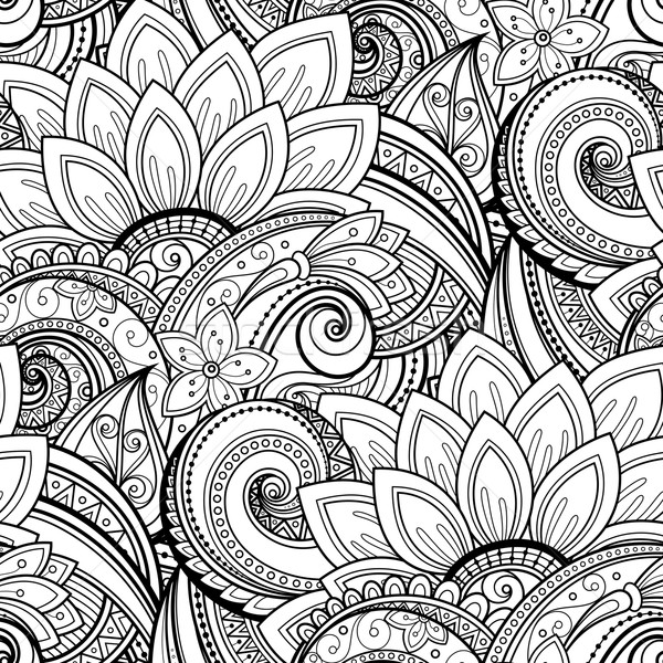 Foto stock: Vector · sin · costura · monocromo · floral · patrón · dibujado · a · mano