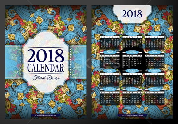 Colored 2018 Year Calendar Rectangular Template, Double-sided Stock photo © lissantee