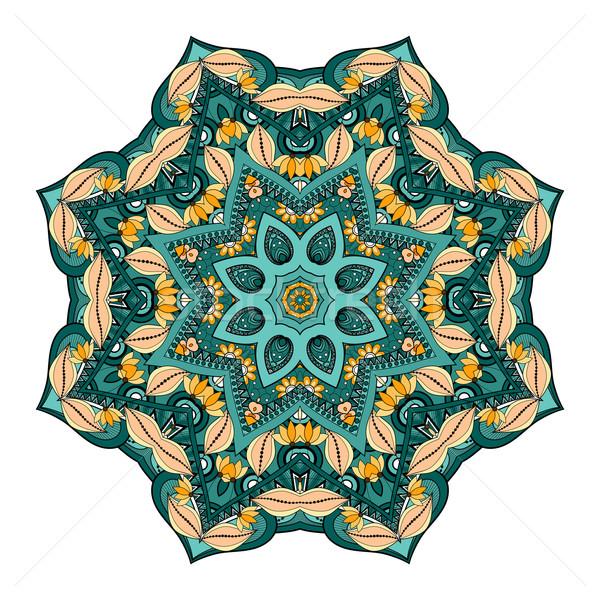 Wektora piękna kolorowy mandala etnicznych Zdjęcia stock © lissantee