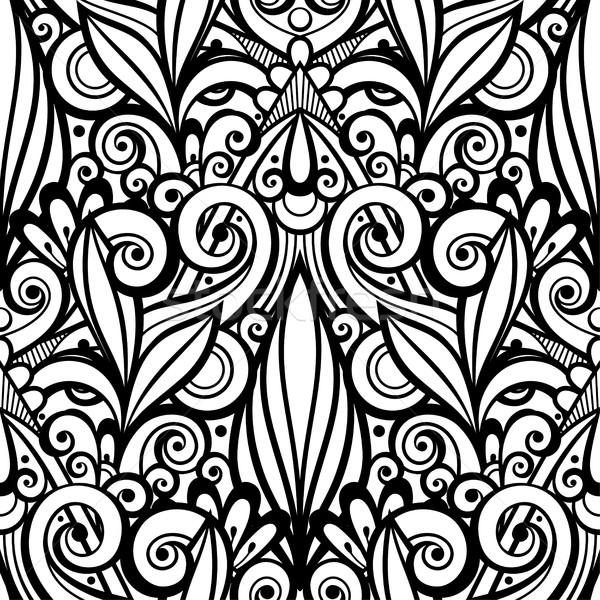 ベクトル モノクロ フローラル 飾り 手描き ストックフォト © lissantee