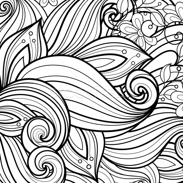 Stock photo: Vector Monochrome Floral Background