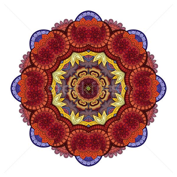 Stock fotó: Vektor · gyönyörű · színes · körvonal · mandala · dizájn · elem
