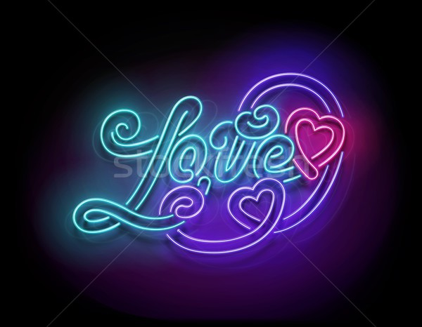 Stock photo: Vintage Glow Signboard with Love Inscription
