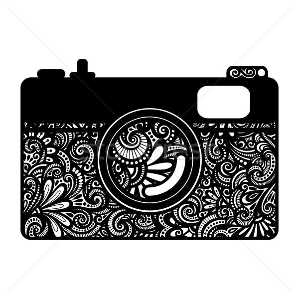 Wektora dekoracyjny Fotografia kamery odizolowany Zdjęcia stock © lissantee