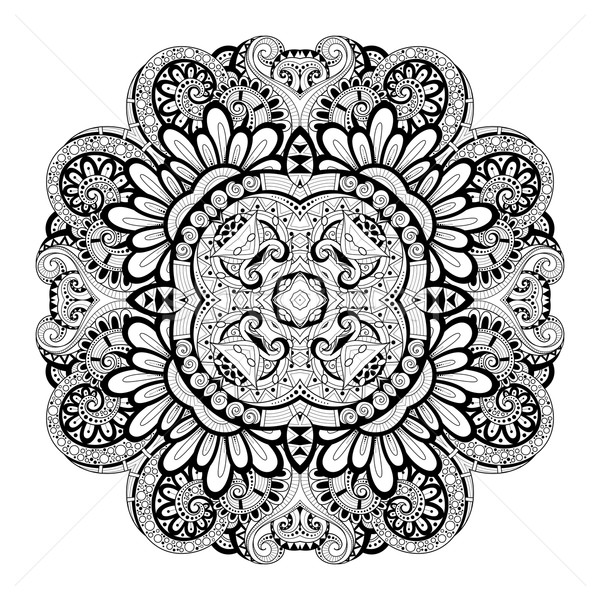 Vector Beautiful Deco Monochrome Contour Square Stock photo © lissantee
