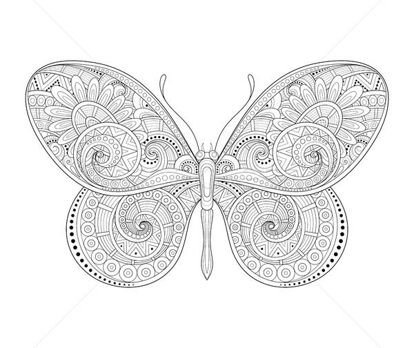 Foto stock: Vetor · decorativo · borboleta · monocromático · ilustração