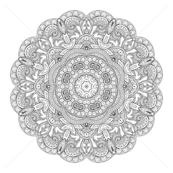 Vector Beautiful Deco Monochrome Contour Mandala Stock photo © lissantee