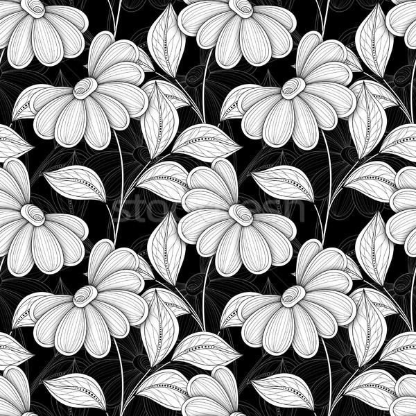 Vetor sem costura monocromático floral padrão Foto stock © lissantee