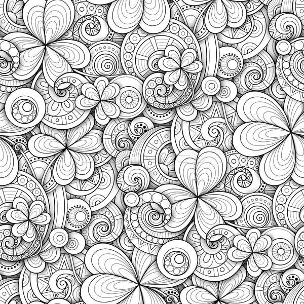 Monochrome Doodle St Patrick's Day Seamless Pattern Stock photo © lissantee