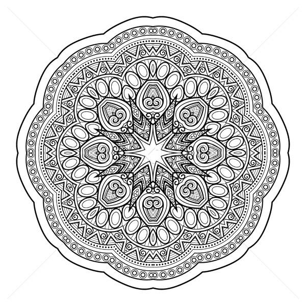 Monochromatyczny piękna dekoracyjny mandala kwiatowy Zdjęcia stock © lissantee