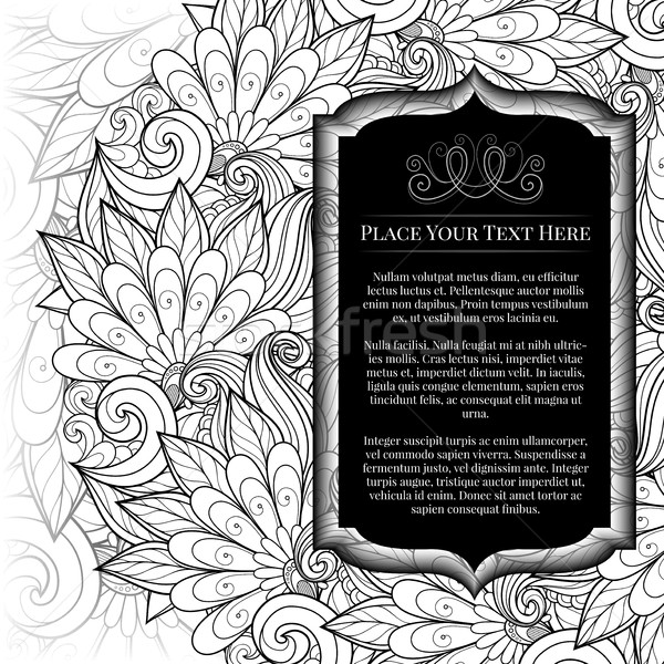 Vector Monochrome Floral Template with Place for Text Stock photo © lissantee
