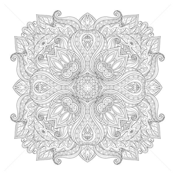 Vecteur belle monochrome contour carré Photo stock © lissantee