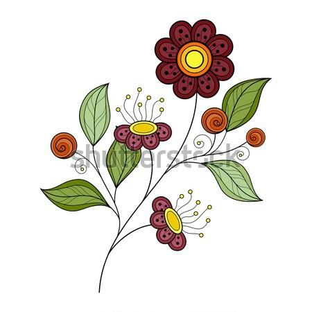 Stock fotó: Vektor · gyönyörű · színes · körvonal · virág · vektor · virág