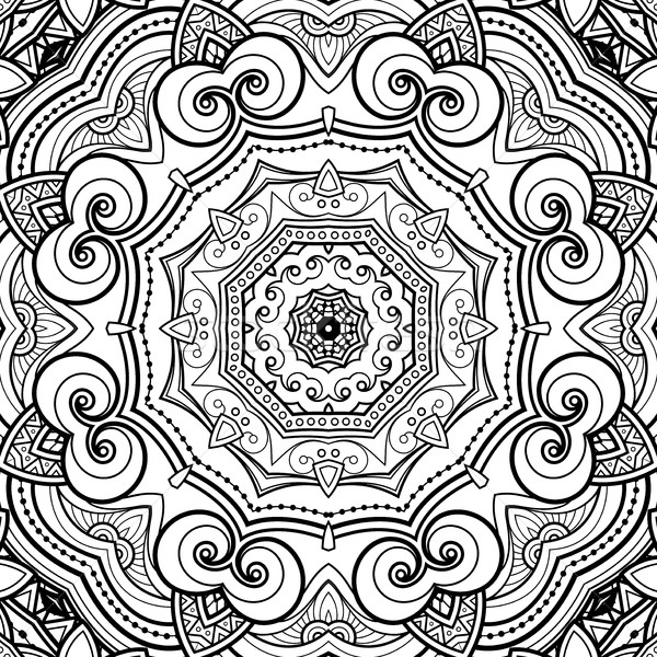 вектора бесшовный аннотация черно белые племенных шаблон Сток-фото © lissantee