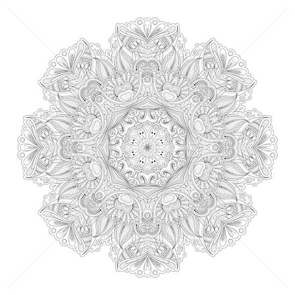 ベクトル 美しい モノクロ 曼陀羅 ストックフォト © lissantee