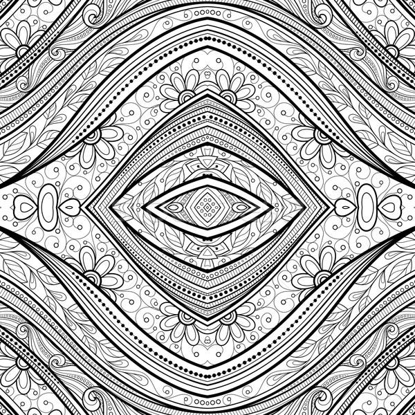 ベクトル シームレス 抽象的な 黒白 部族 パターン ストックフォト © lissantee