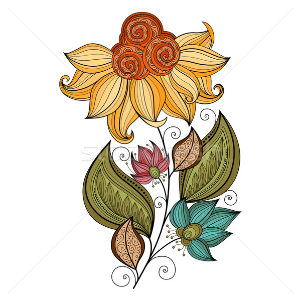 Vector mooie gekleurd contour bloem vector bloem Stockfoto © lissantee