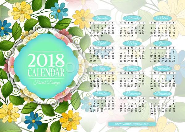 Jahr Kalender rechteckige Vorlage schönen Stock foto © lissantee