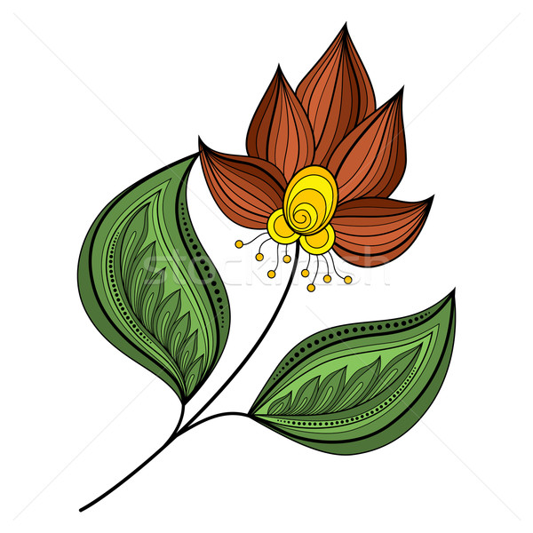 Vector Beautiful Colored Contour Flower Stock photo © lissantee