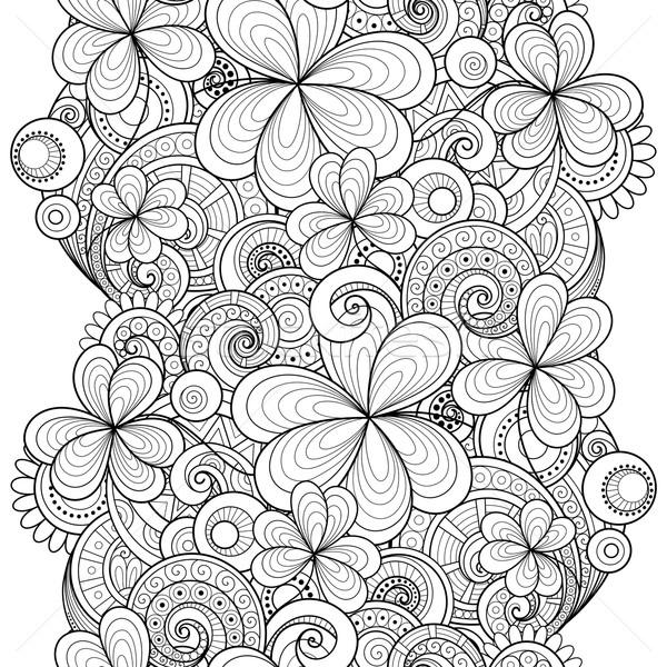 Foto stock: Vetor · sem · costura · monocromático · floral · padrão · decorativo