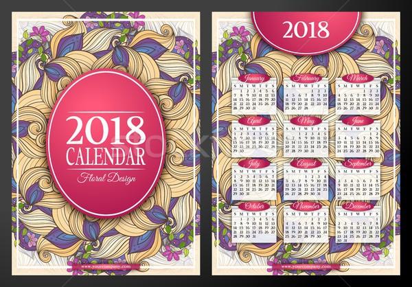 год календаря прямоугольный шаблон красивой Сток-фото © lissantee