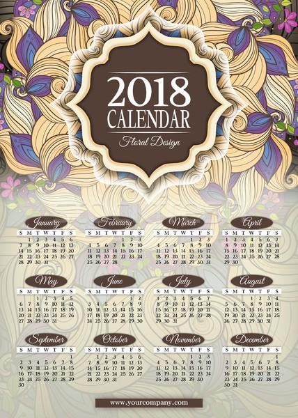 Colorato anno calendario rettangolare modello bella Foto d'archivio © lissantee