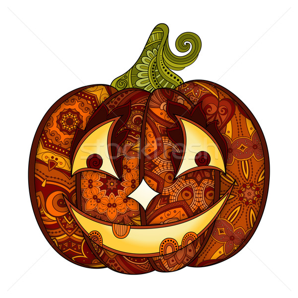 Vector Decorative Colored Pumkin with Smile Isolated on White Ba Stock photo © lissantee