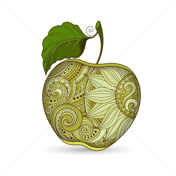 Stockfoto: Vector · gekleurd · contour · appel · decoratief