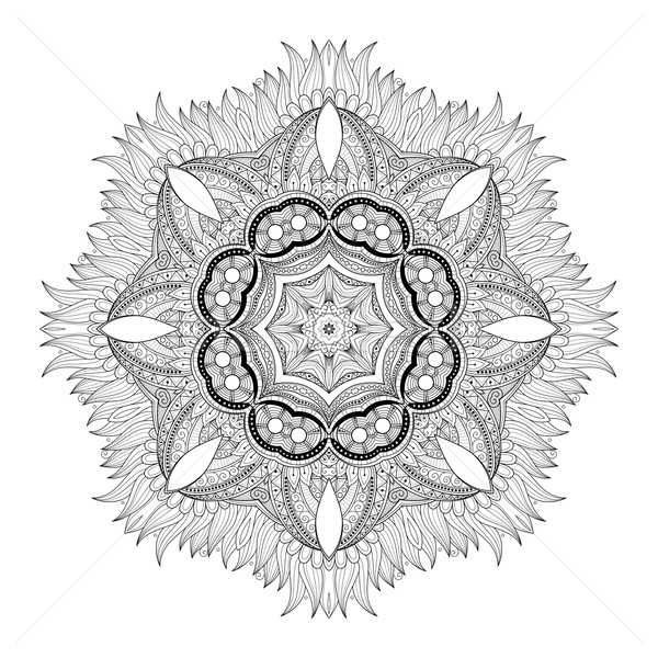 Stock photo: Vector Beautiful Deco Monochrome Contour Mandala