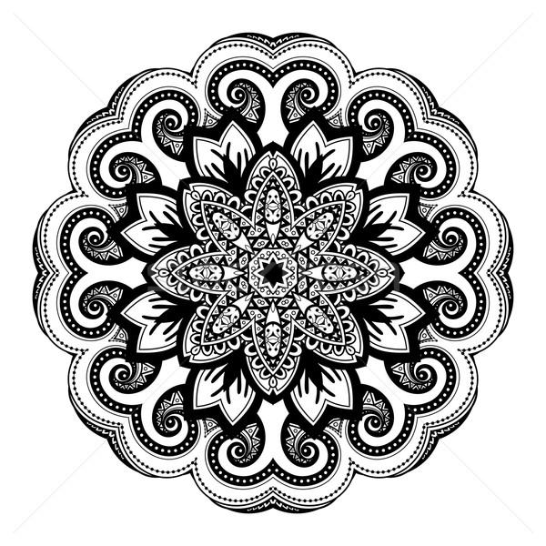 Wektora piękna czarny mandala etnicznych Zdjęcia stock © lissantee