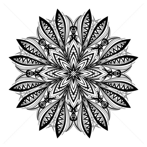 Vector mooie zwarte mandala etnische Stockfoto © lissantee
