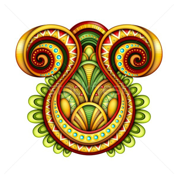 Színes dekoratív absztrakció dizájn elem törzsi absztrakt Stock fotó © lissantee