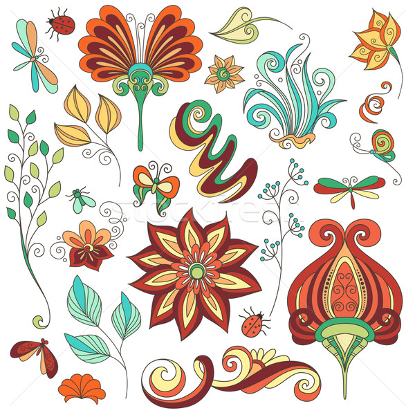 Vector Floral Collection of Hand Drawn Design Elements Stock photo © lissantee