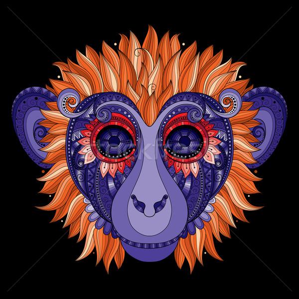 Vektör maymun kafa kabile renkli Stok fotoğraf © lissantee
