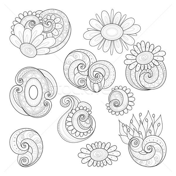 Vector Set of Monochrome Contour Floral Doodles Stock photo © lissantee