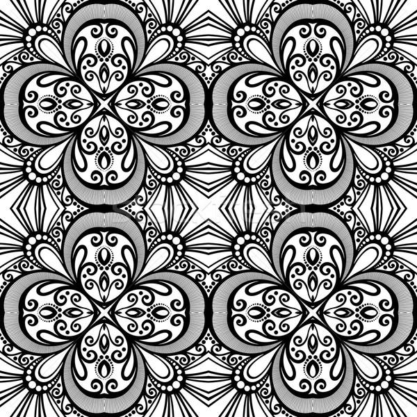 Vetor sem costura vintage preto e branco Foto stock © lissantee