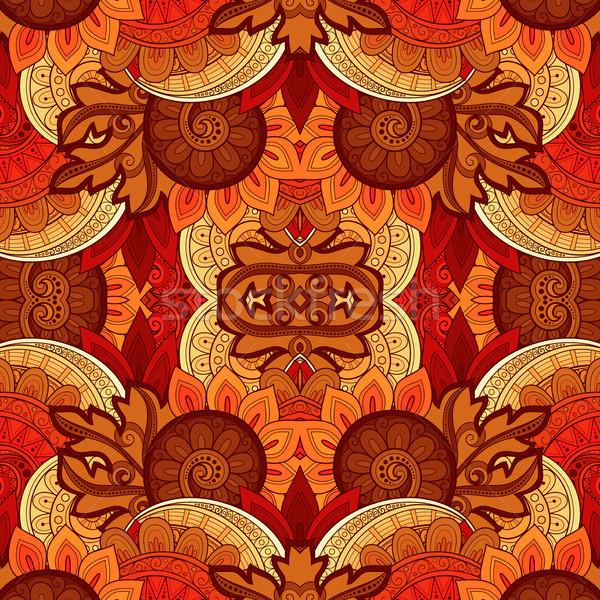 Vektor végtelenített absztrakt törzsi minta kézzel rajzolt Stock fotó © lissantee