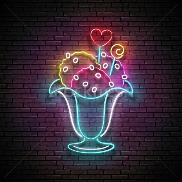 Vintage Glow Signboard with Ice Cream Balls in Vase, Candies Dec Stock photo © lissantee