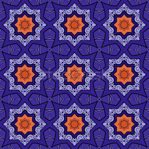 Vector sin costura vintage dibujado a mano azulejo Foto stock © lissantee