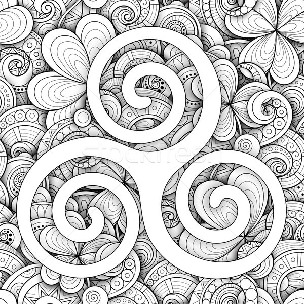 кельтской символ спиральных знак монохромный День Святого Патрика Сток-фото © lissantee