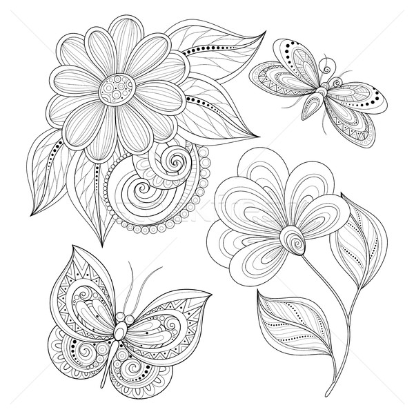 Vector Set of Beautiful Monochrome Floral Design Elements with I Stock photo © lissantee