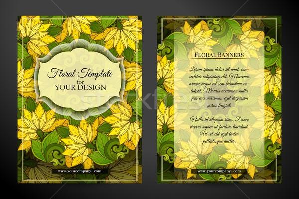 Cartão belo abstrato flores elegante Foto stock © lissantee