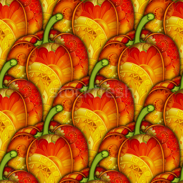 Vector Colored Seamless Pattern with Decorative Bell Pepper Stock photo © lissantee