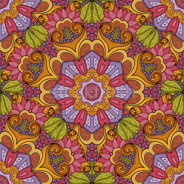 Foto stock: Vector · sin · costura · patrón · dibujado · a · mano