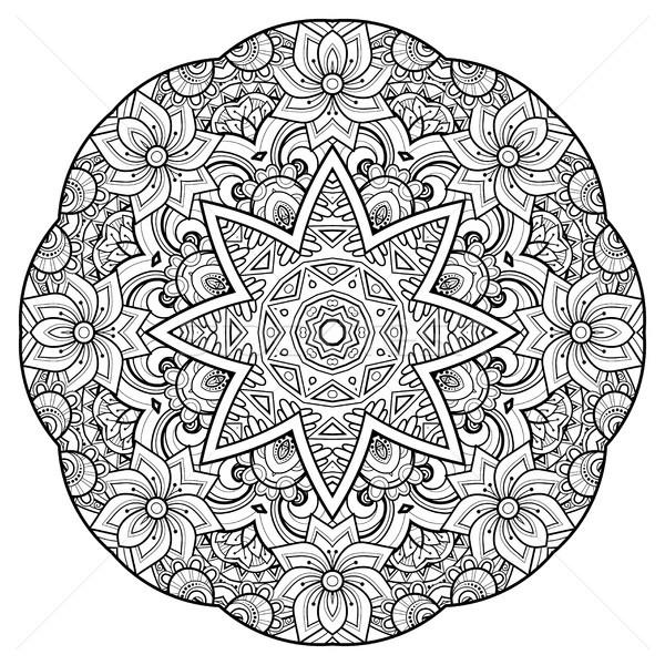 モノクロ 美しい 装飾的な 曼陀羅 フローラル ストックフォト © lissantee